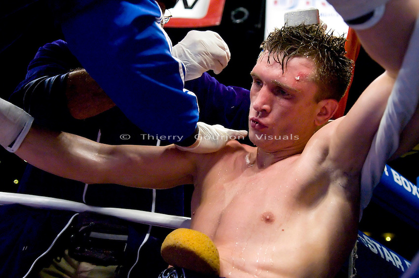 Andre Tsurkan in his corner  during his NABF Super-Welterweight Championship against Sammy Sparkman at the Paradise Theater in New York City, on April 11th 2007. Tsurkan won by KO in the 9th round.