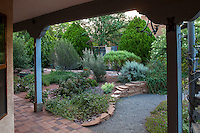Gravel path leading from shaded patio into New Mexico backyard garden, design by Judith Phillips