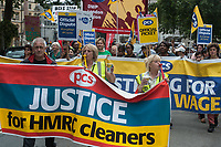 Members of the PCS Trade union working for the HMRC & BEIS departments go on strike to demand a living wage. 18-7-19