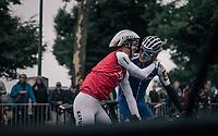 Greetings between countrymen Tony Martin (GER/Katusha-Alpecin) and Marcel Kittel (DEU/QuickStep Floors) during course recon<br /> <br /> 104th Tour de France 2017<br /> Stage 1 (ITT) - Düsseldorf › Düsseldorf (14km)