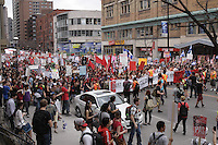 Montreal (QC) CANADA - March 22, 2012 - More than 200 000 students on strike protest peacefully  against tutuion fee, downtown Montreal.