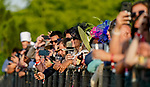 June 5, 2021: Fans line the rail to watch before the running of the Belmont Stakes on Belmont Stakes Day at Belmont Park in Elmont, New York. Scott Serio/Eclipse Sportswire/CSM
