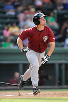 Designated hitter Jonathan Leroux (15) of the Savannah Sand Gnats bats in a game against the Greenville Drive on Sunday, August 24, 2014, at Fluor Field at the West End in Greenville, South Carolina. Greenville won, 8-5. (Tom Priddy/Four Seam Images)