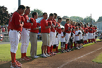 Batavia Muckdogs before a game vs. the Auburn Doubledays at Dwyer Stadium in Batavia, New York June 19, 2010.   Batavia defeated Auburn 2-1.  Photo By Mike Janes/Four Seam Images