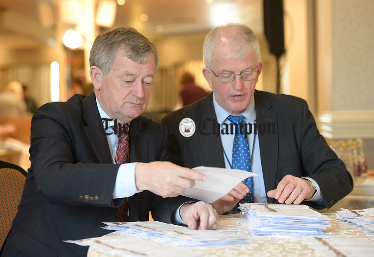 Pat Shannon and Michael Mc Namara at work at theGE2016 count in Ennistymon. Photograph by John Kelly.
