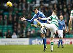 Celtic v St Johnstone...23.01.16   SPFL  Celtic Park, Glasgow<br /> Joe Shaughnessy battles with Callum McGregor<br /> Picture by Graeme Hart.<br /> Copyright Perthshire Picture Agency<br /> Tel: 01738 623350  Mobile: 07990 594431