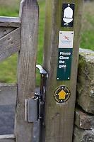 Northumberland,  England, UK.  Gate Latch on Hadrian's Wall (Pennine Way) Footpath, with Acorn Emblem.