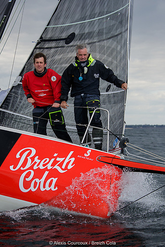 Tom Dolan (left), racing with the French co-skipper Gildas Mahé lies in fourth place on the Transat en Double