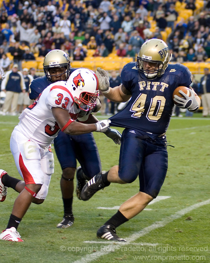 November 08, 2008: Pitt linebacker Scott McKillop returns an interception 18 yards for a touchdown. The Pitt Panthers defeated the Louisville Cardinals 41-7 on November 08, 2008 at Heinz Field, Pittsburgh, Pennsylvania.