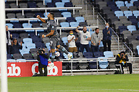 SAINT PAUL, MN - MAY 12: Ramon Abila #9 of Minnesota United FC celebrates his goal during a game between Vancouver Whitecaps and Minnesota United FC at Allianz Field on May 12, 2021 in Saint Paul, Minnesota.