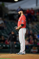 Pawtucket Red Sox relief pitcher Brandon Workman (44) looks in for the sign during a game against the Rochester Red Wings on May 19, 2018 at Frontier Field in Rochester, New York.  Rochester defeated Pawtucket 2-1.  (Mike Janes/Four Seam Images)