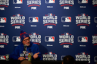 Chicago Cubs manager Joe Maddon (70) during an interview before Game 5 of the Major League Baseball World Series against the Cleveland Indians on October 30, 2016 at Wrigley Field in Chicago, Illinois.  (Mike Janes/Four Seam Images)