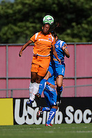 Rosana (11) of Sky Blue FC and Christine Latham (7) of the Boston Breakers go up for a header. Sky Blue FC defeated the Boston Breakers 1-0 during a Women's Professional Soccer match at Yurcak Field in Piscataway, NJ, on July 4, 2009.