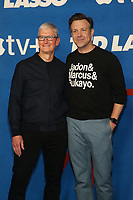 WEST HOLLYWOOD, CA - JULY 15: Tim Cook and Jason Sudeikis at Apple TV+ Ted Lasso Season 2 Premiere at The Rooftop at The Pacific Design Center in West Hollywood, California on July 15, 2021. <br /> CAP/MPIFS<br /> ©MPIFS/Capital Pictures