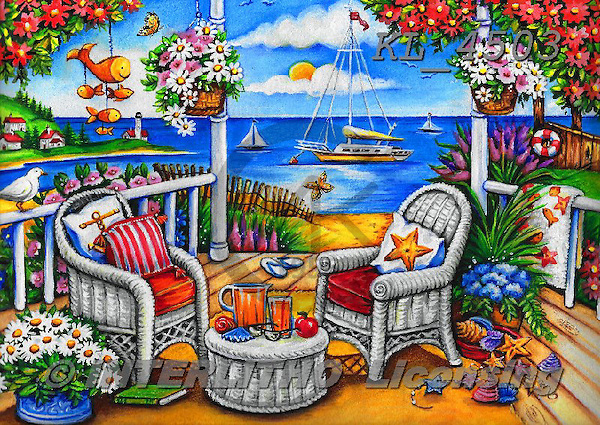 Interlitho-Theresa, LANDSCAPES, LANDSCHAFTEN, PAISAJES,sea,beach,drinks,sailing boat, paintings+++++,garden,KL4503,#l# ,puzzles