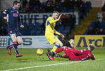 Ross County v St Johnstone…27.12.17…  Global Energy Stadium…  SPFL<br />Scott Fox saves at the feet of Denny Johnstone<br />Picture by Graeme Hart. <br />Copyright Perthshire Picture Agency<br />Tel: 01738 623350  Mobile: 07990 594431