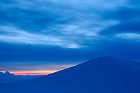 Morning twilight on Mauna Kea volcano, Highest point in Hawaii, 13796', The Big Island of Hawaii