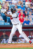 Eugenio Velez (4) of the Nashville Sounds at bat against the Oklahoma City RedHawks at Greer Stadium on July 25, 2014 in Nashville, Tennessee.  The Sounds defeated the RedHawks 2-0.  (Brian Westerholt/Four Seam Images)