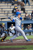 San Jose State Spartans first baseman James Shimashita (31) follows through on his swing against the Michigan Wolverines on March 27, 2019 in Game 1 of the NCAA baseball doubleheader at Ray Fisher Stadium in Ann Arbor, Michigan. Michigan defeated San Jose State 1-0. (Andrew Woolley/Four Seam Images)