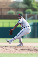 Scottsdale Scorpions relief pitcher Erasmo Pinales (47), of the Houston Astros organization, delivers a pitch during an Arizona Fall League game against the Glendale Desert Dogs at Camelback Ranch on October 16, 2018 in Glendale, Arizona. Scottsdale defeated Glendale 6-1. (Zachary Lucy/Four Seam Images)