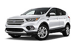 Stock pictures of low aggressive front three quarter view of 2018 Ford Escape SE 5 Door SUV Low Aggressive