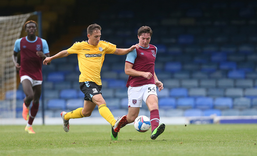 West Ham United's Conor Coventry and Southend United's Matt Rush<br /> <br /> Photographer Rob Newell/CameraSport<br /> <br /> EFL Trophy Southern Section Group A - Southend United v West Ham United U21 - Tuesday 8th September 2020 - Roots Hall - Southend-on-Sea<br />  <br /> World Copyright © 2020 CameraSport. All rights reserved. 43 Linden Ave. Countesthorpe. Leicester. England. LE8 5PG - Tel: +44 (0) 116 277 4147 - admin@camerasport.com - www.camerasport.com