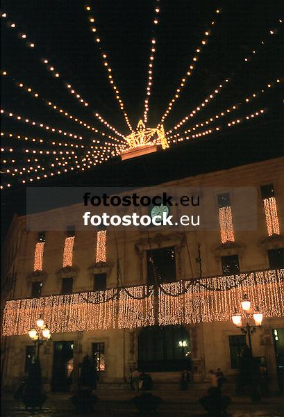 Townhall of Palma de Mallorca with christmas decoration<br /> <br /> Ayuntamiento de Palma de Mallorca con decoración de navidad<br /> <br /> Rathaus in Palma mit Weihnachtsdekoration<br /> <br /> 3650 x 2488 px<br /> Original: 35 mm slide transparency