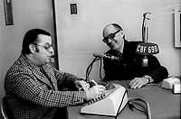 ARCHIVE - Radio Canada - Le Pere Legault en entrevue a la radio<br />  (date inconnue, entre 1967 et 1972)<br /> <br /> Photo : Agence Quebec Presse  - Alain Renaud
