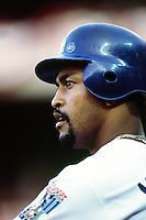 Raul Mondesi of the Los Angeles Dodgers during a game at Dodger Stadium circa 1999 in Los Angeles, California. (Larry Goren/Four Seam Images)