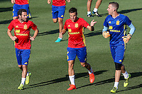 Spanish player Cesar Azpilicueta, Juan Mata and Adrian San Miguel durign the first training of the concentration of Spanish football team at Ciudad del Futbol de Las Rozas before the qualifying for the Russia world cup in 2017 August 29, 2016. (ALTERPHOTOS/Rodrigo Jimenez) /NORTEPHOTO