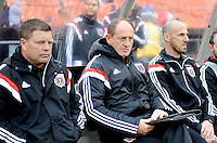 Washington, D.C.- March 29, 2014. Chad Ashton (left) Enzo Concina (middle) D.C. United Assistant Coaches and Preston Burpo D.C. United Goalkeeping Coach (right)  The Chicago Fire tied D.C. United 2-2 during a Major League Soccer Match for the 2014 season at RFK Stadium.