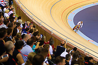 06 AUG 2012 - LONDON, GBR - Huang Li (CHN) of China rides her Flying Lap during the first day of the Women's Omnium in the London 2012 Olympic Games track cycling at the Olympic Park Velodrome in Stratford, London, Great Britain (PHOTO (C) 2012 NIGEL FARROW)