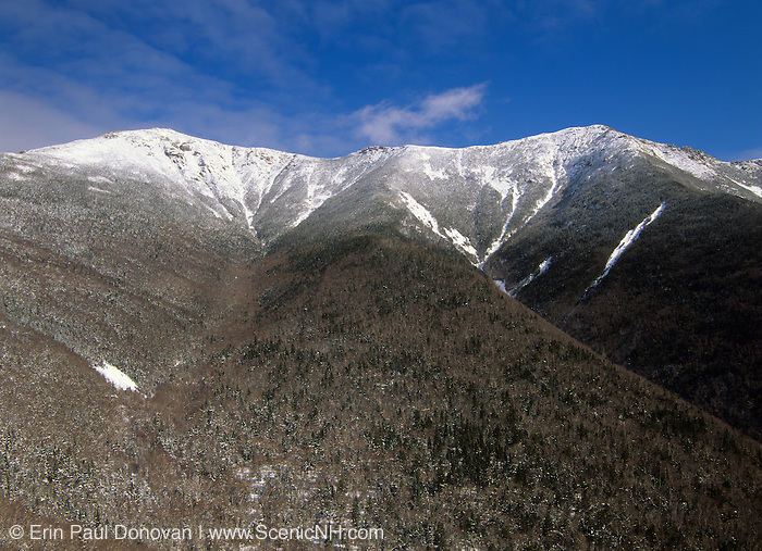 Scenic view of Franconia Ridge from Old Bridal Path in the White Mountain National Forest of New Hampshire USA. The Appalachian Trail travels across this ridge.