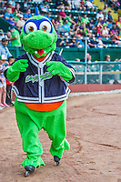 9 July 2015: Vermont Lake Monsters Mascot Champ entertains the fans on roller-blades prior to a game against the Mahoning Valley Scrappers at Centennial Field in Burlington, Vermont. The Lake Monsters rallied to tie the game 4-4 in the bottom of the 9th, but fell to the Scrappers 8-4 in 12 innings of NY Penn League play. Mandatory Credit: Ed Wolfstein Photo *** RAW Image File Available ****