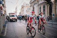 Nathan Haas (AUS/Katusha-Alpecin) & Nils Politt (DEU/Katusha-Alpecin) rolling back to the teambus after finishing on the Via Roma<br /> <br /> 109th Milano-Sanremo 2018<br /> Milano > Sanremo (291km)