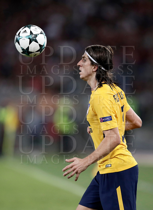 Football Soccer: UEFA Champions League AS Roma vs Atletico Madrid Stadio Olimpico Rome, Italy, September 12, 2017. <br /> Atletico Madrid's Filipe Luis in action during the Uefa Champions League football soccer match between AS Roma and Atletico Madrid at at Rome's Olympic stadium, September 12, 2017.<br /> UPDATE IMAGES PRESS/Isabella Bonotto