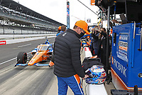 28th May 2021; Indianapolis, Indiana, USA;  NTT Indy Car Series car driver Scott Dixon (9) gets ready to put on his helmet as he prepares for the 105th running of the Indianapolis 500