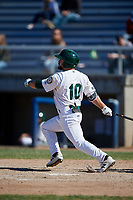 Beloit Snappers second baseman Nate Mondou (10) follows through on a swing during a game against the Bowling Green Hot Rods on May 7, 2017 at Pohlman Field in Beloit, Wisconsin.  Bowling Green defeated Beloit 6-2.  (Mike Janes/Four Seam Images)