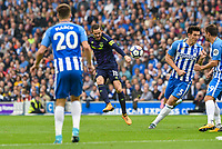 Gylfi Sigurosson of Everton (18) Shoots at goal during the Premier League match between Brighton and Hove Albion and Everton at the American Express Community Stadium, Brighton and Hove, England on 15 October 2017. Photo by Edward Thomas / PRiME Media Images.