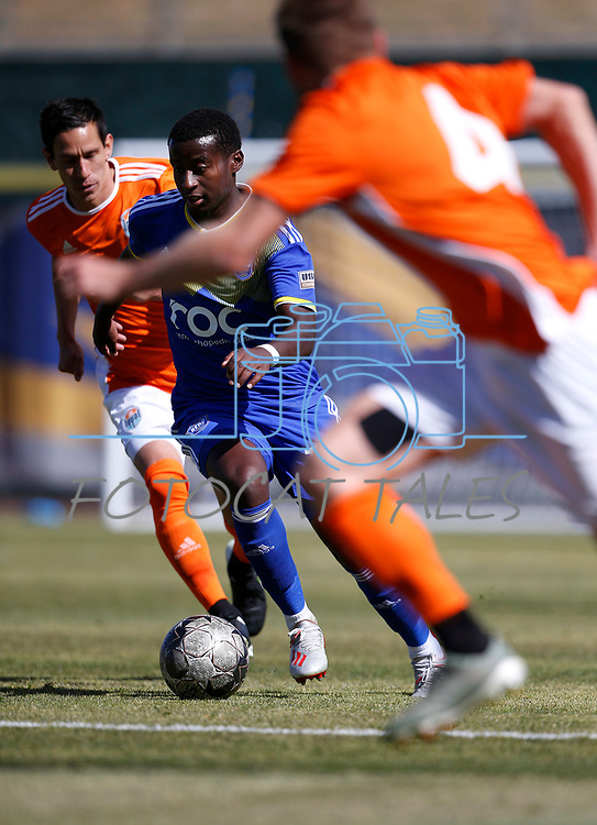 Reno 1868 midfielder Siad Haji runs up the field against San Diego Loyal SC during a preseason match in Reno, Nev., on Saturday, Feb. 29, 2020. San Diego won 4-2. <br /> Photo by Cathleen Allison/Cathleen Allison Photography