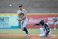 Mandy Alvarez (24) of the Scranton/Wilkes-Barre RailRiders makes a throw to first base after forcing out Cristian Pache (15) of the Gwinnett Stripers at Coolray Field on August 18, 2019 in Lawrenceville, Georgia. The RailRiders defeated the Stripers 9-3. (Brian Westerholt/Four Seam Images)