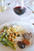 In the restaurant. Traditional beans, vegetable and meat stew. Herdade da Malhadinha Nova, Alentejo, Portugal