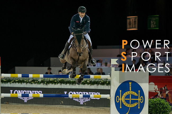 Piergiorgio Bucci of Italy riding Driandria during the Hong Kong Jockey Club Trophy competition, part of the Longines Masters of Hong Kong on 10 February 2017 at the Asia World Expo in Hong Kong, China. Photo by Marcio Rodrigo Machado / Power Sport Images