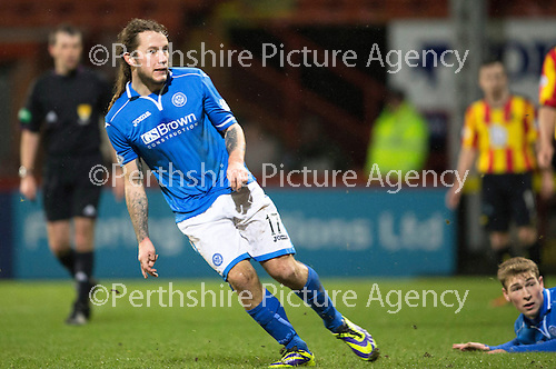 Partick Thistle v St Johnstone....21.01.14   SPFL<br /> Stevie May scores to make it 1-0<br /> Picture by Graeme Hart.<br /> Copyright Perthshire Picture Agency<br /> Tel: 01738 623350  Mobile: 07990 594431