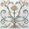 Tamsin Stone Mosaic shown in polished Calacatta Tia, Renaissance Bronze, Giallo Reale, Rosa Verona, Verde Luna, Spring Green, Verde Luna, Aegean Brown, and Red Lake. As seen in Veranda.