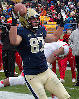 Pitt wide receiver Make Shanahan celebrates his 16-yard second quarter touchdown reception. The Pitt Panthers defeat the Rutgers Scarlet Knights 27-6 on Saturday, November 24, 2012 at Heinz Field , Pittsburgh, PA.