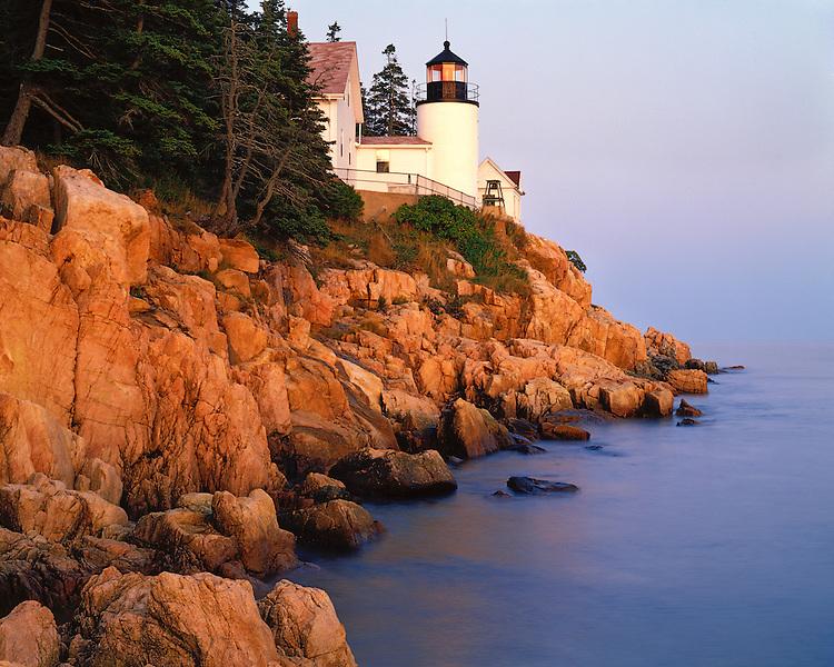 Sunset glow on the Bass Harbor Lighthouse; Acadia  National Park, ME