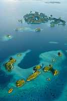 Aerials over the Rock islands and Milky way in Palau Micronesia