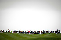 PEBBLE BEACH, CA--Throngs of fans line the course to see Tiger Woods and winner Phil Mickelson at the AT&T Pebble Beach National Pro-Am Golf Championship at Pebble Beach Golf Links in Pebble Beach, CA on Sunday, February 12, 2012. Mickelson won the tournament with a total score of 269.
