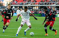WASHINGTON, DC - MARCH 07: Oneil Fisher #91 of DC United defends against Juan Agudelo #12 of Inter Miami during a game between Inter Miami CF and D.C. United at Audi Field on March 07, 2020 in Washington, DC.